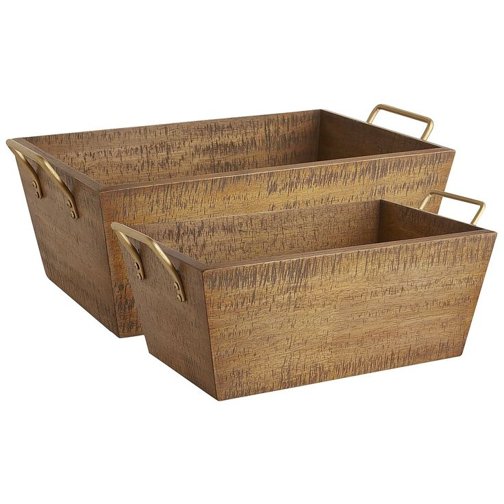 Need to organize, declutter and create more space? We've got you covered with our Haven storage bins. Handcrafted of sturdy solid woo and finished with iron handles, the bins come in two sizes and provide naturally attractive storage for the kitchen, bath, office or closet.