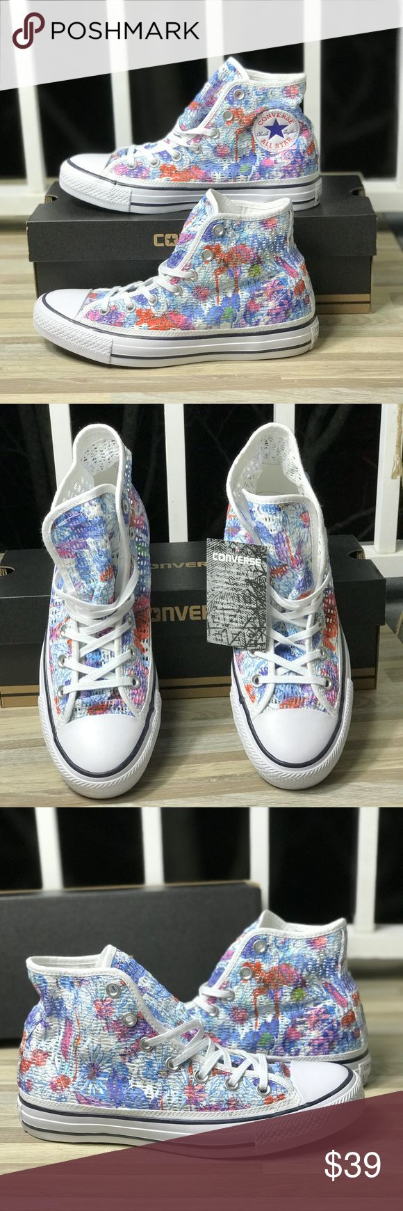 NWT Converse Ctas HI Spray Paint Blue HT WMNS Brand new with box.🔥Price is firm!🔥No trades. Classic cotton construction with a vulcanized rubber midsole for comfort and durability. Converse Shoes Sneakers