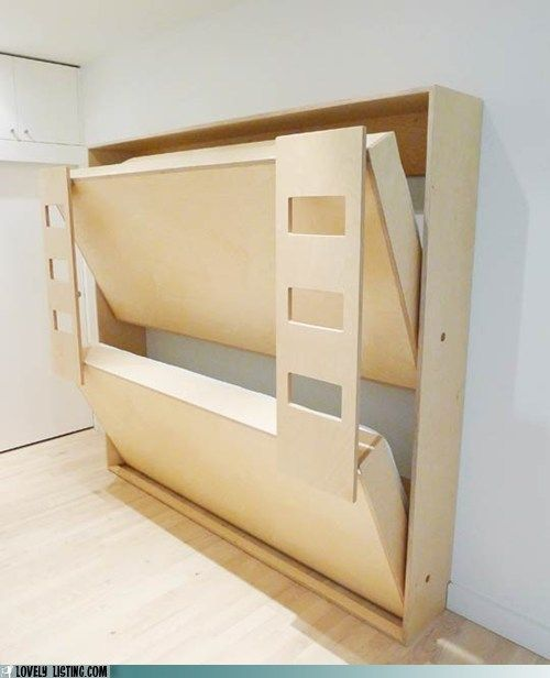 "murphy bunk bed - Paint the bottoms to make interesting ""wall art"", but then totally useful for visitors!"