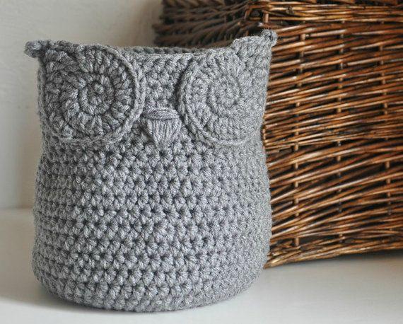 MADE TO ORDER Grey Owl Basket Crocheted Bin by AandBDesignStudio