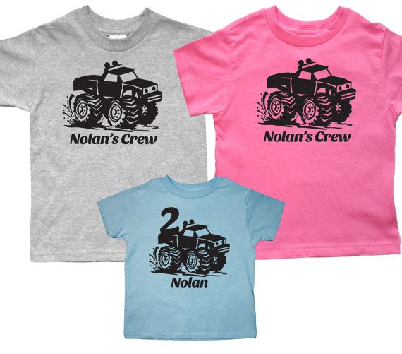 Set of 3 Monster truck shirts - Matching birthday monster trucks t shirts - pick your colors!