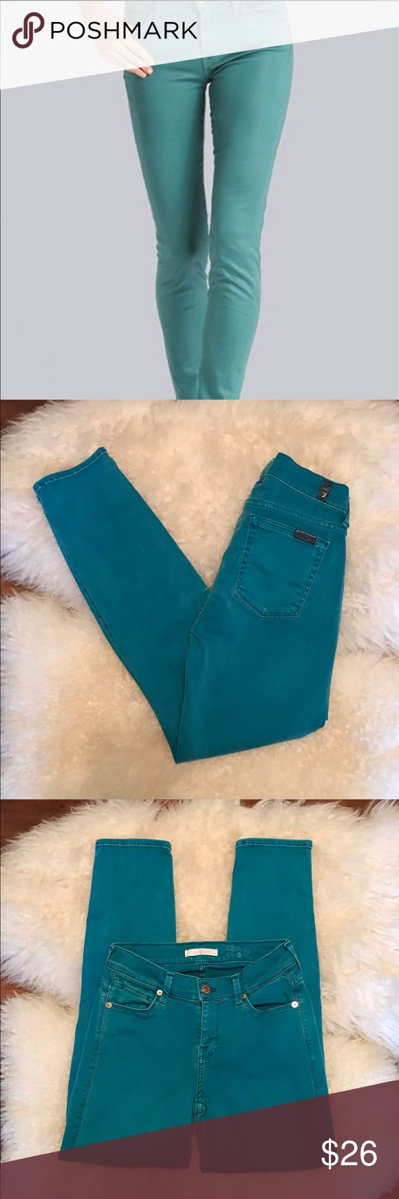 "7 For All Mankind Jeans 7 For All Mankind, ""slim straight"" fit. Beautiful deep aqua jeans. Size 24 with a 27"" inseam. Excellent condition! 7 For All Mankind Pants Ankle & Cropped"