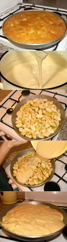 Шарлотка без яиц.. Для измерения ингредиентов используйте один и тот же стакан. Если у вас большая сковорода (как на фото ниже), берите стакан объемом 250 мл., если же чуть поменьше - то 200 мл. По большому счету, этот рецепт отлично подойдет для выпечки любых пирогов.Ингредиенты: Мука — 1 Стакан Манка — 1 Стакан Сахар — 1 Стакан Сода — 1 Чайная ложка Кефир — 1 Стакан Масло растительное — 0,5 Стакана Яблоки — 5-6 Штук