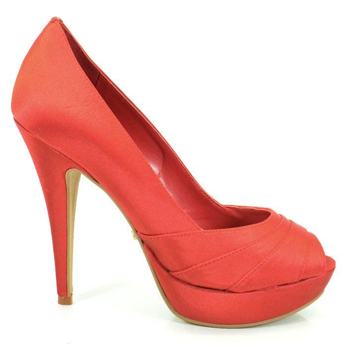 Sapato Peep Toe Cetim Feminino Werner -Kiss ( Vermelho )