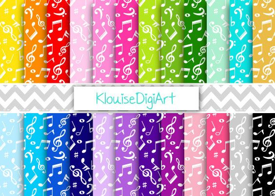 Rainbow and Pastel Musical Notes Printable by KlouiseDigiArt