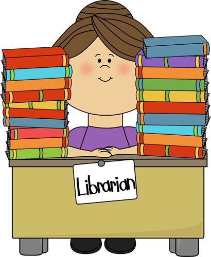 library clip art free | Clip Art Image - librarian sitting at a desk with stacks of library ...