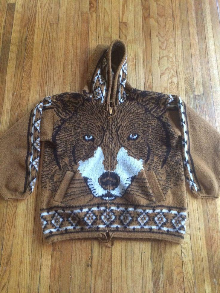 Vintage Earth Ragz for Evolution Zip Up Full Face Wolf Hooded Sweatshirt by VintageVanShop on Etsy