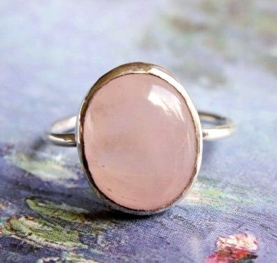 Rose Quartz Ring, and Sterling Silver Ring, Stackable Ring, Pink Quartz Oval Cab Ring, Natural Gemstone Ring  $70