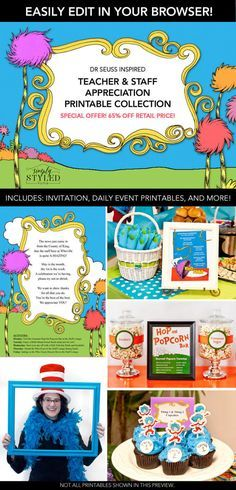 Everything you need for a Dr. Seuss themed Teacher Appreciation Week at your school!