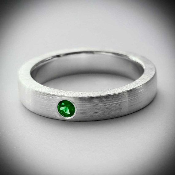Sterling Silver Brushed Emerald Band  Emerald by SamaritanJewelers