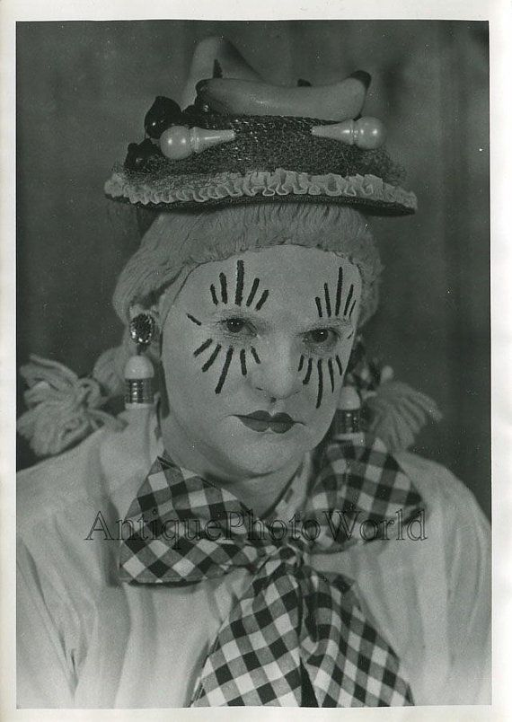 Woman clown in make up vintage circus photo by ArtNotch on Etsy