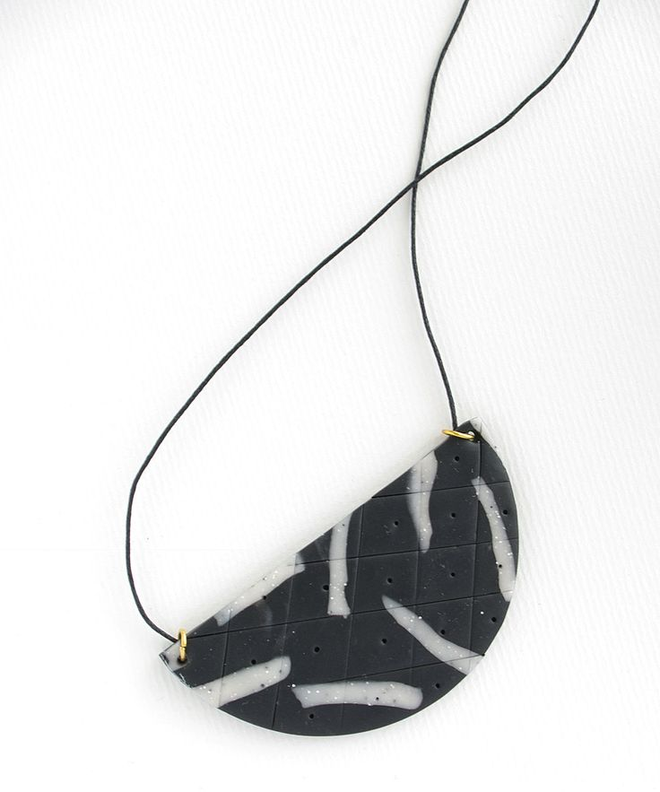 Half Circle Polymer Clay Necklace in a colour palette of black and white. by colourwork on Etsy