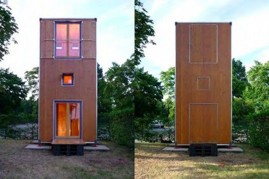 Homebox, Han Slawik, wooden shipping container, cargotecture, mobile home, movable house, micro home, small space living