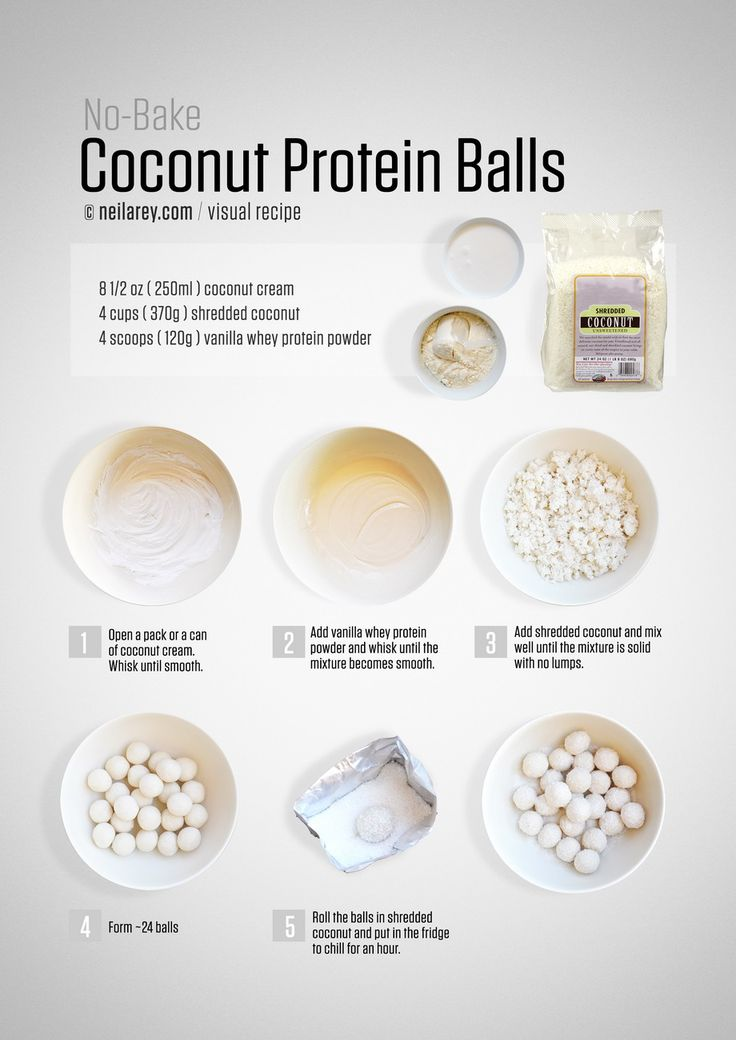 No-bake coconut balls - could easily be made vegan by using vegan protein powder