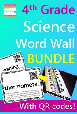 4th grade Science word wall cards with qr codes and definitions for the year!  Make your word wall or Science standards board interactive and engaging!  Seven 4th Grade Science Topics for the Year Included:  Water Cycle Weather & Weather Tools Force & Motion {Simple Machines} Earth & Moon Planets Light Sound