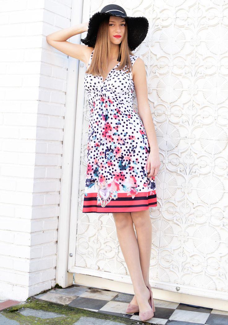 DRESSES : Polka Dot & Floral Print Dress   STYLATI