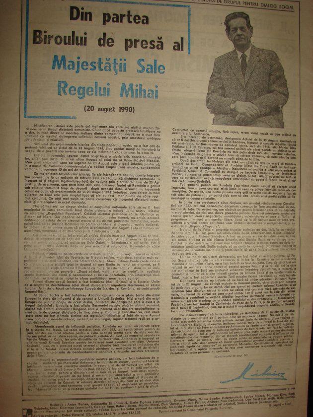Actul de la 23 august 1944 povestit de Regele Mihai ca autor - 20 august 1990 http://razvansandu.zando.ro/2014/08/actul-de-la-23-august-1944-povestit-de.html