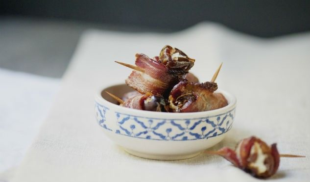 Bacon Wrapped Dates filled with Goat Cheese (aka Devils On Horseback): http://gustotv.com/recipes/snacks/bacon-wrapped-dates-filled-goat-cheese-aka-devils-horseback/