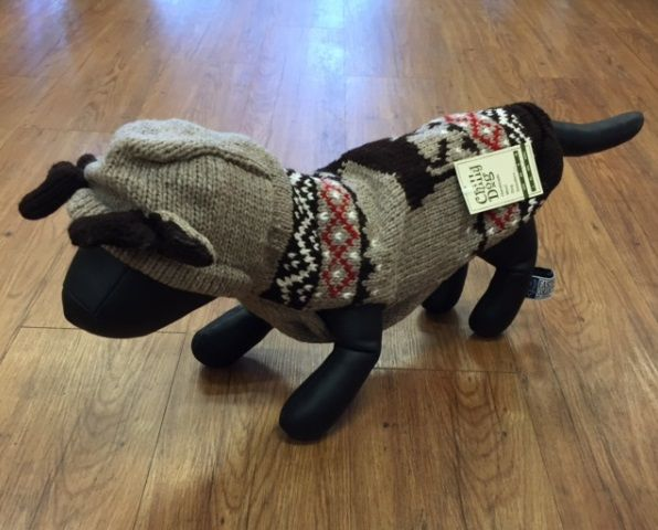 """""""Chilly Dog"""" wool sweaters are 100% hand-knit organic wool. Not just that, but they use natural plant and fruit dyes. These great quality sweaters come in different patterns or sizes. With fall now here, and winter approaching this is a great sweater to keep your dog cozy warm."""