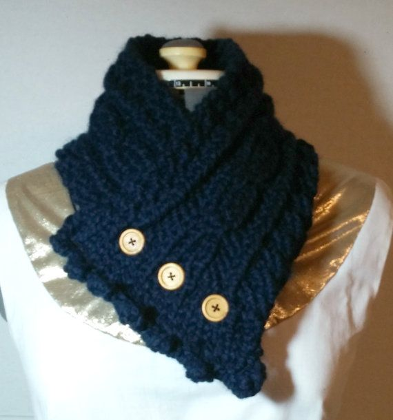 Cabled Neck WarmerButtoned Neck Scarf Hand Knit by CheriesSundries