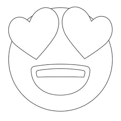 emoji coloring pages Heart Eyes Emoji Coloring Sheets