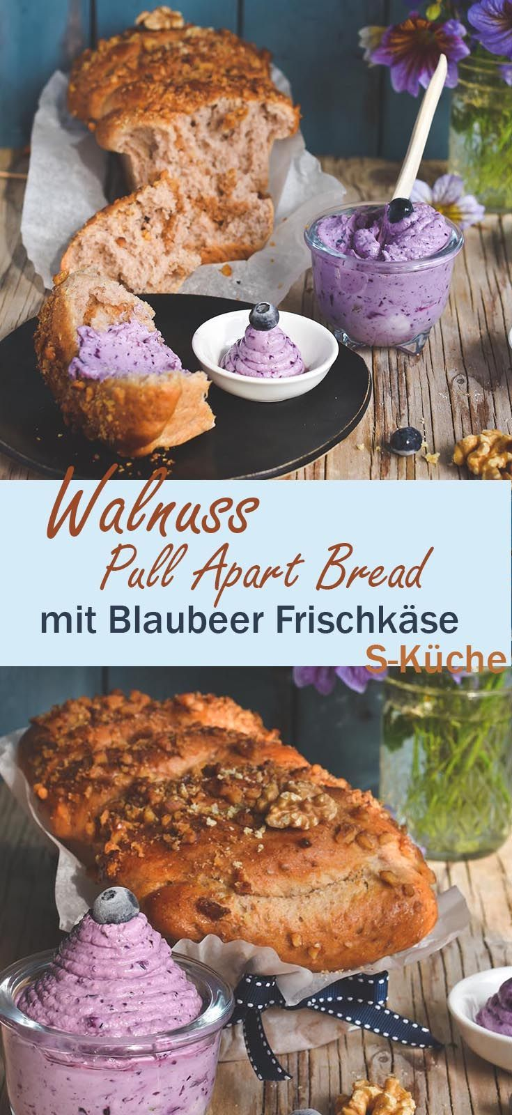 Walnuss Zupfbrot mit Blaubeer Frischkäse - Maple Walnut Pull Apart Bread and Blueberry Cream Cheese