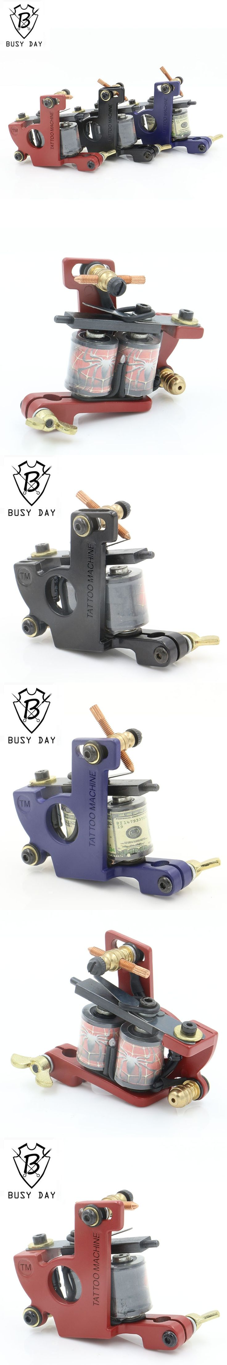 2016 New Coil Tattoo Machine 10 Wraps Professional Three Color Steel tattoo gun machine For Liner & Shader For Free Shipping