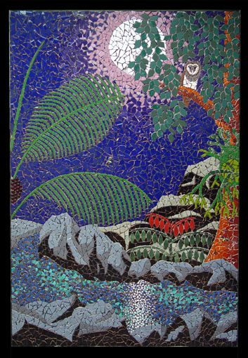 """Rainforest Moon"" mosaic mural in ceramic tiles by Brett Campbell MosaicsMosaics Art, Mosaics Murals, Mosaics Pattern, Campbell Mosaics, Mosaics Inspiration, Mosaics Moon, Owls, Moon Mosaics, Stained Glasses"
