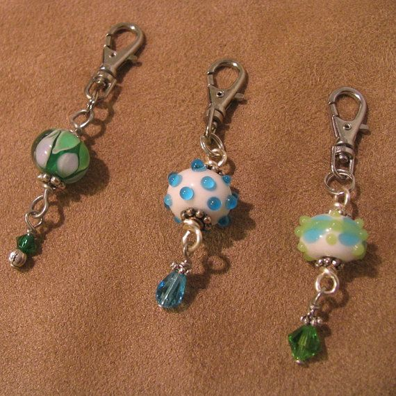 Zipper Pull Trio Lovely Lampwork Beads in Blues by JenniferSumner, $15.00