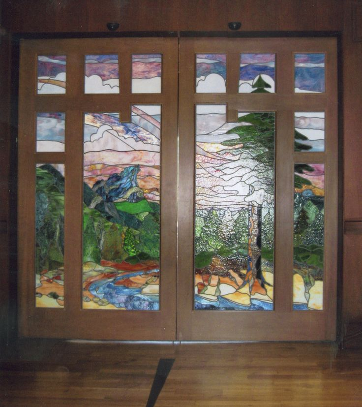 I love it when an artist can take a stained glass design for Take door designs