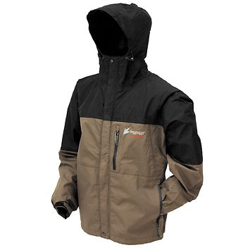 Frogg Toggs 'Toad Rage' Mens Stone/Black Textile Rain Jacket - LeatherUp.com