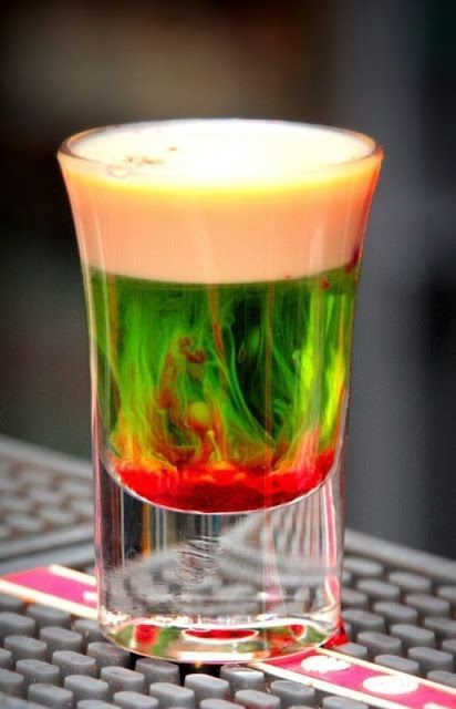 Fallen Froggie 0.5oz Midori 0.5oz Baileys Splash of grenadine Mix equal parts and drink up! I love this site http://www.healthyrecipes.org/posts/Fallen-Froggie-05oz-Midori-05oz-Baileys-Splash-44157