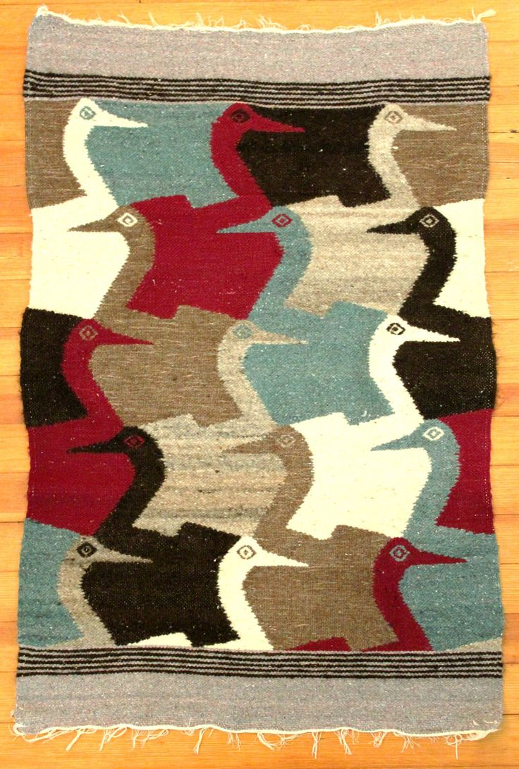 Vintage woven wool wall-hanging