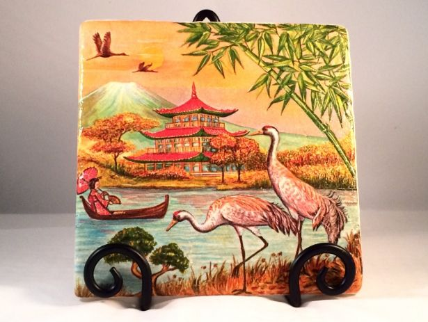 Oriental Birds Asian - Trivet / Hot Plate Holder With Easel by Casita Bella on Gourmly