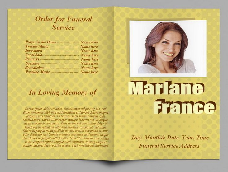 Yellow polka dot funeral program template http for Funeral handouts template