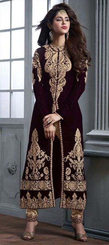 446425 Red and Maroon color family Party Wear Salwar Kameez in Velvet fabric with Machine Embroidery, Patch work .