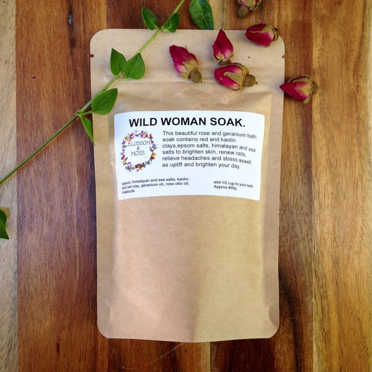 Wild Woman Soak beautifully scented with Rose Otto and Geranium Essential oils