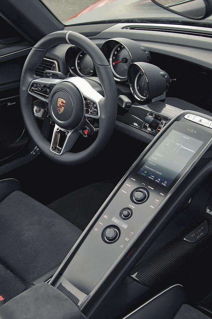 Porsche black steering wheel interior race sport digital dashboard multifunction button interface