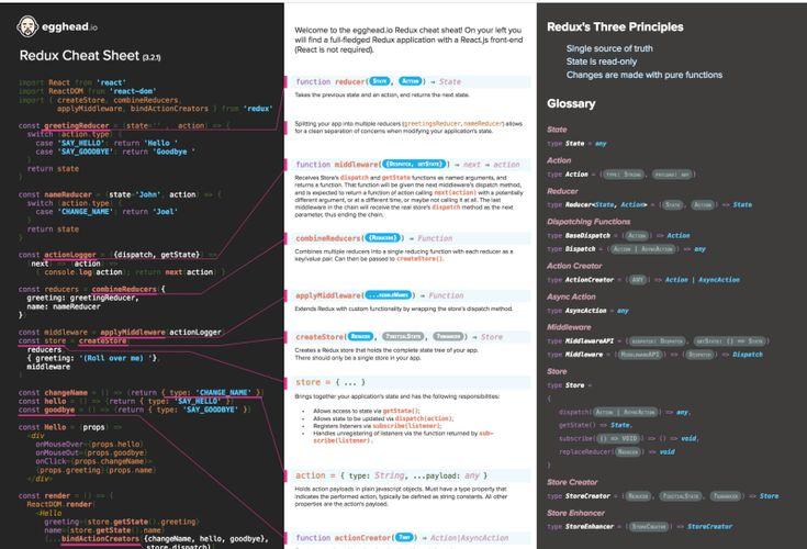 Làm sao có thể nhớ hết được các APIs? Đừng lo vì đã có cheatsheets! Dưới đây là tập hợp các front-end cheatsheets hay nhất mà tôi tập hợp được. Javascript ES2015features       Nguồn: https://devhints.io/es6   Javascript       Nguồn: http://overapi.com/javascript   Javascript Regular expression       Nguồn: https://www.debuggex.com/cheatsheet/regex/javascript   React       Nguồn: https://devhints.io/react   Redux       Nguồ...