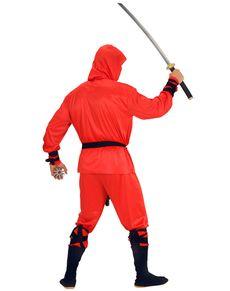 Fato de ninja vermelho sigiloso para homem