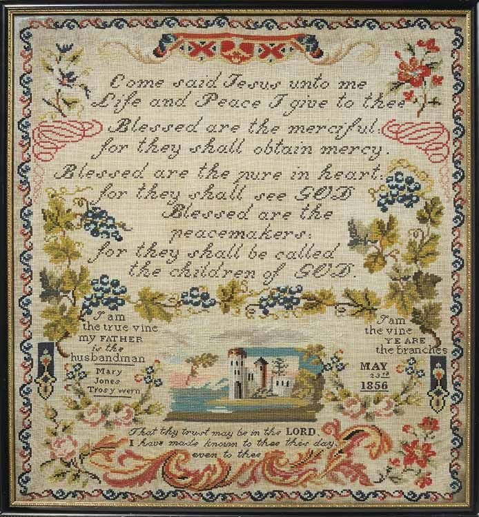 A Lovely 19th Century Welsh Sampler Stitched By Mary Jones Cardiff Dated 1856