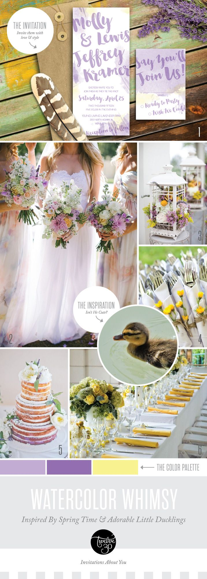 One lucky duckling became the perfect inspiration for this whimsical spring wedding invitation suite. His soft down inspired the light and airy watercolor details as well as the subtle pops of yellow in the lavender and purple wedding color palette.