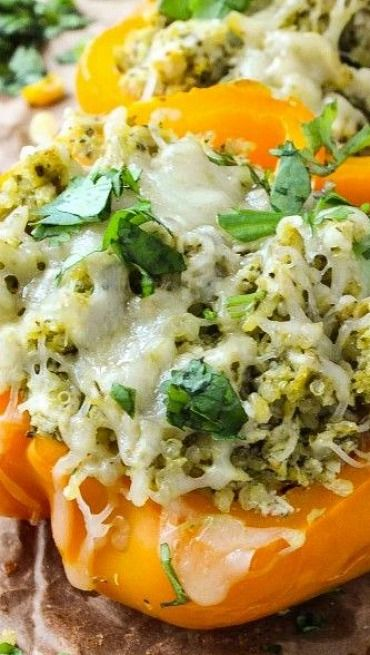 Quinoa Chicken Pesto Stuffed Peppers