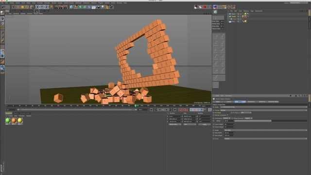 This is a quick tutorial about how to control exactly which of your clones behave dynamically, which of them act as collider bodies, and which of them to completely ignore. Sometimes when creating a scene that involves the dynamic destruction of walls, buildings, etc, the simulation can be hard to control in terms of what comes apart and when. Using Mograph selections can give you an added layer control over exactly how your dynamics simulations come apart.