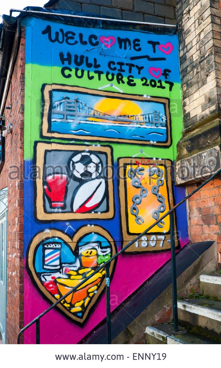 Street art mural Welcome to Hull City of Culture 2017 Stock Photo