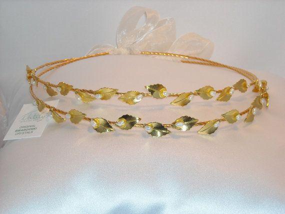 Gold Plated Stefana with Pearls, $139.00 at the Greek Wedding Shop ~ http://www.greekweddingshop.com/