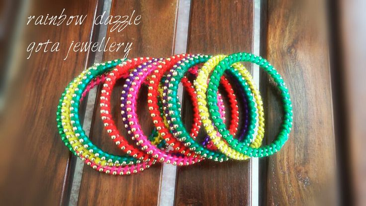 Bead Trim Bangles.  For more designs, like my facebook page  Rainbow Dazzle Gota Jewellery  https://www.facebook.com/pages/Rainbow-Dazzle/461994940500930