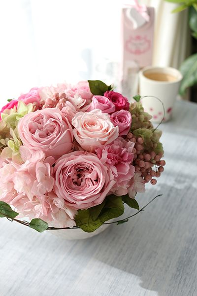 Preserved flower arrangement Pink プリザーブドフラワー アレンジメント ピンク