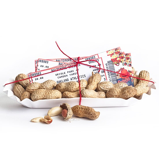 Father's Day Gift Wrap idea for baseball tickets.  Get him tickets to see his favorite team and wrap with cracker jacks and peanuts.Gift Baskets, Peanut, Baseball Gifts, Father'S Day Gifts, Gift Ideas, Fathers Day Gift, Handmade Gifts, Baseball Games, Party Ideas