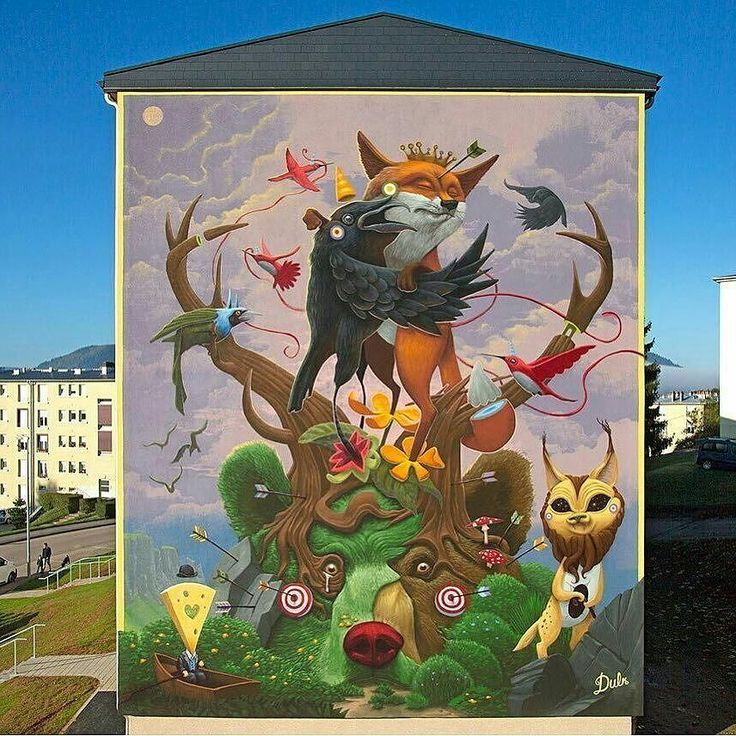 """A beautiful depiction of one of the most famous French fables """"Le corbeau et le renard"""" by @dulk1 in Saint Dié France. Have you head of La Fontaine Fables? If not check them out! -- #france #streetart #globalstreetart #paintedcities #lafontaine #fable"""